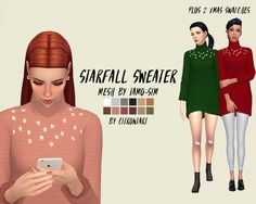 STARFALL SWEATER RECOLOUR ( ORIGINAL MESH BY @tamo-sim ) I'm working on some super simple christmas cc and seriously this is as basic as it gets!! it's just this sweater recoloured in my palette (+2...