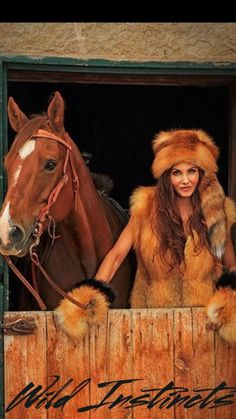 ~ A fab look of decadent red fox fur with tail, vest & mittens worn by Arizona cowgirl Bobbi Jeen Olson. Fur Accessories, Red Fox, Fox Fur, Mittens, Boho Chic, Erotic, Fur Coat, Fur Vests, Horses