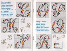 alfabeto fiorellini maiuscolo (3) Crochet Alphabet, Alphabet Art, Cross Stitch Alphabet, Embroidery Art, Cross Stitch Embroidery, Cross Stitch Patterns, Cross Stitch Rose, Christmas Cross, Double Knitting