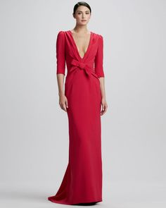 Elbowsleeve Plungingv Gown Bright Pink - Carolina Herrera Kind of reminds me of the 1940's-50's style of gowns.