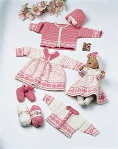Dukker og dyr Knitting Dolls Clothes, Knitted Dolls, Doll Clothes Patterns, Clothing Patterns, Baby Born Clothes, Bitty Baby Clothes, Baby Knitting Patterns, Knitting Designs, Reborn Dolls