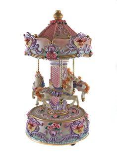"Carousel Music Box   ... Windup - HORSE MUSICAL CAROUSEL MUSIC BOX - 10"" Tall - Ornament New"