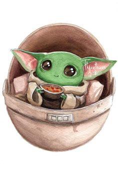 Baby Yoda Soup by ThreeLeaves on DeviantArt Star Wars Drawings, Easy Drawings, Yoda Drawing, Yoda Images, Star Wars Tattoo, Star Wars Fan Art, Canvas Art, Small Canvas, Disney Art