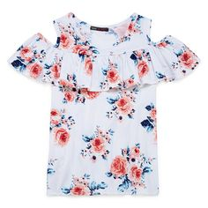Insta Girl Flutter Cold Shoulder Sleeve Printed Fashion Top - Girls' 7-16 Shoulder Sleeve, Cold Shoulder, Fashion Prints, Fashion Top, Floral Tops, Top Girls, Sleeves, Blouses, Printed