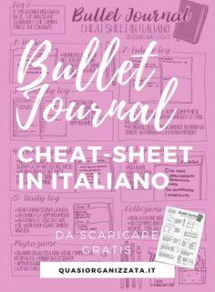 Bullet Journal Cheat Sheet: uno specchietto in italiano Bullet Journal Cheat Sheet, Bullet Journal Log, Bullet Journal October, Bullet Journal Travel, Organization Skills, Planner Organization, Organizing, Agenda Organizer, Personal Organizer