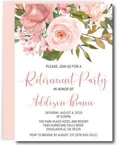 Rose Gold and Blush Retirement Invitations Retirement Celebration, Retirement Parties, Retirement Gifts, Retirement Ideas, Retirement Invitation Card, Invitation Card Design, Retirement Announcement, Bachelorette Party Planning, Elephant Birthday