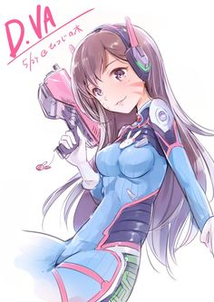 D.Va - More at https://pinterest.com/supergirlsart/ #diva #dva #overwatch #cute #korean #girl #anime #fanart