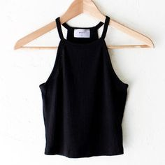 Knit Halter Crop Top - Black