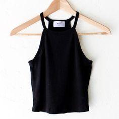 Knit Halter Crop Top - Black