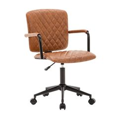 Brown Top Grain Leather Conference Chair with Arms Office Furniture HARPER /& BRIGHT DESIGNS Executive Guest Chair