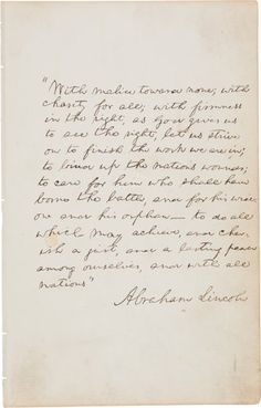 autographsus presidents abraham lincoln autograph manuscript signed the last paragraph ofhis second