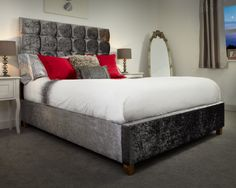 Pendle - A beautiful and elegant bed frame that conjures up the style and luxury of a boutique hotel. Featuring a high headboard with a distinctive cube design punctuated with fabric buttons and resting on wooden legs. Bed Centre, High Headboards, Cube Design, The Conjuring, Good Night Sleep, A Boutique, Bed Frame, New Look, Beds