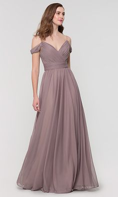 Shop long chiffon bridesmaid dresses with beaded straps at Kleinfeld Bridal Party. Cold-shoulder plus-sized formal dresses for bridesmaids and v-neck a-line bridesmaid dresses with beaded straps. Bridesmaids Gowns With Sleeves, Flowy Bridesmaid Dresses, Off Shoulder Gown Bridesmaid, Wedding Dresses, Vestidos Color Pastel, Chifon Dress, Maid Of Honour Dresses, Maid Of Honor Dress Long, Gorgeous Prom Dresses