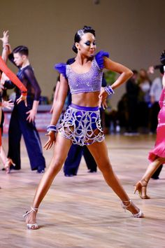 Love the skirt, maybe the purple can continue up to make it one piece Latin Ballroom Dresses, Ballroom Dancing, Hot Fix, Dance Hairstyles, Salsa Dancing, Learn To Dance, Dance Outfits, Samba, Dance Costumes