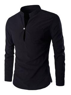 $9.45 Brief Pure Color Mandarin Collar Long SleeveS Pullover Shirt For Men