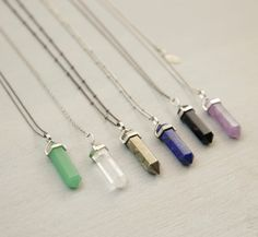 CRYSTAL POINT Necklace // Long Chakra Crystal Pendant Necklace // Natural Stone Crystal Point with Extra Long Necklace Option by BohemianFringe on Etsy https://www.etsy.com/listing/164362256/crystal-point-necklace-long-chakra