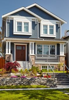 Craftsman exterior, grey-blue with white trim More