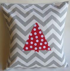 Holiday Christmas Tree Pillow Cover Grey Chevron Red Polka Dot 16 X 16