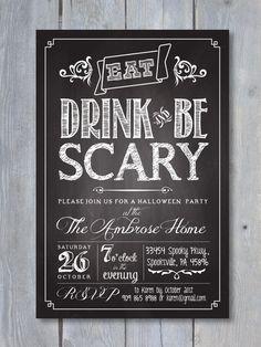 HALLOWEEN Party Chalkboard Printable Invitation by Sweet Scarlet Designs #halloween #steampunk