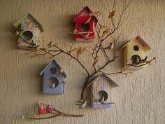 Casinhas de passarinho de caixas tetra pak