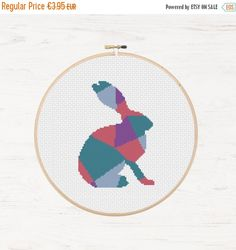 Black Friday 75% OFF Hare Cross Stitch Pattern Rabbit Animal Collage Polygon Pika Geometric Mosaic Modern Cross Stitch Pattern Embroidery In