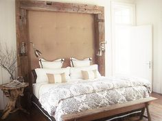rustic wood and upholstered burlap