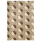 Roma Collection Comb Ivory and Beige 5 ft. 3 in. x 7 ft. Indoor Area Rug, Primary: Ivory/Secondary: Beige
