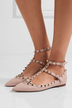 Slight heel Blush textured-leather Buckle-fastening ankle straps Designer color: Poudre Made in Italy