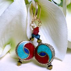 Tibet Turquoise Coral Lapis and Brass with Swarovski Crystal Earrings | KatsAllThat - Jewelry on ArtFire