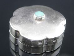 Vintage Pillbox Sterling Turquoise Pill Box Mexican Eagle Mark