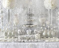 Stunning White Wedding table decorations.