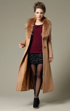 Teenloveme 2013 New Arrival Women's Long Fur Collar Wool Coat Outwear, Camel $265