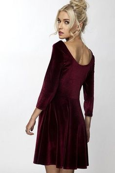 VA VA BOOM DRESS THE MUST HAVE DRESS FOR THIS SEASON! IT IS ALL ABOUT THE VELVET THIS SEASON!!! Beautiful burgundy velvet is so soft and luxe! 3/4 Sleeve and ro