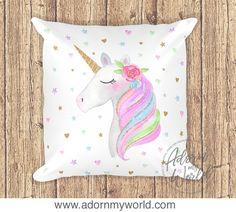 Unicorn Pillow, Unicorn Cushion, Unicorn Decor, Unicorn Nursery, Unicorn Gift, Unicorn Pillow Case, Unicorn Cushion Cover, Nursery Decor