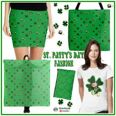 Don't forget your green!! Four Leaf Clovers and Pots of Gold ~ #StPatricksDay  women's fashion. Choose from several colors, styles and size options for the Tee Shirts. These designs are also available on bags, cards, home decor, stickers and more! #stpatricksdayfashion #stpatricksdaywear #stpatricksdayshirt #gravityx9  #redbubble #fourleafclovers
