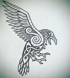 Viking Symbols, Viking Art, Viking Raven, Mayan Symbols, Egyptian Symbols, Ancient Symbols, Symbol Tattoos, Celtic Tattoos, Celtic Raven Tattoo