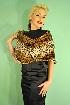 Rockabilly Leopard Print 1950s Faux Fur Shawl Cape Wrap with Button - made to order