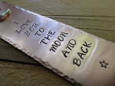 Copper Stamped Metal Bookmark Love You To The by FHGoldDesigns