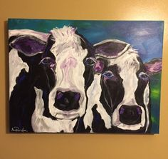 Two Cows, 18x24 acrylic painting by Ana Peralta by DecoArtz on Etsy https://www.etsy.com/listing/469891742/two-cows-18x24-acrylic-painting-by-ana