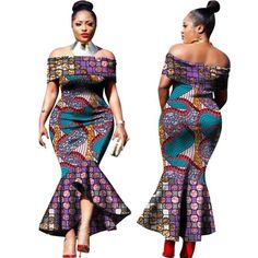2017 New Fashion Design Traditional African Clothing Print Dashiki Slash Neck African Mermaid Sexy Dresses for Women African Fashion Designers, African Men Fashion, African Dresses For Women, African Print Dresses, Africa Fashion, African Wear, African Fashion Dresses, African Women, Ankara Fashion