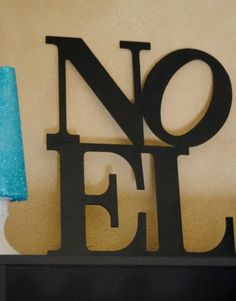Christmas easy DIY noel sign, 2013 Christmasblack wooden noel sign, Christmas wall decor idea