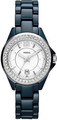 Fossil CE1060 Women's Mini Riley Blue Ceramic Crystals Watch NEW