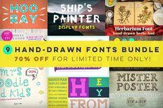 [-70%] 9 Hand-drawn Fonts Bundle by Frisk Shop on @creativemarket