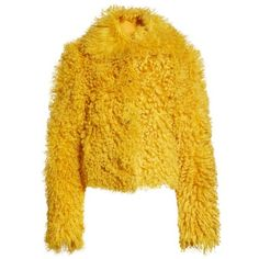 Women's Simon Miller Genuine Shearling Moto Jacket ($2,200) ❤ liked on Polyvore featuring outerwear, jackets, yellow biker jacket, rider jacket, mustard jacket, yellow moto jacket and simon miller