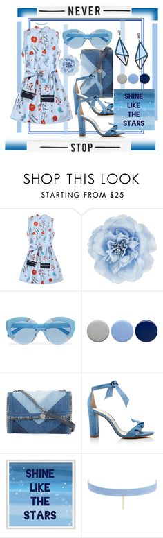 """blue social social club💙"" by rainadreyz ❤ liked on Polyvore featuring Monsoon, Karen Walker, Burberry, STELLA McCARTNEY, Alexandre Birman, Green Leaf Art, Jules Smith and Issey Miyake"