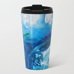 Deep Blue Ocean Life Metal Travel Mug by @ANoelleJay | @Society6 Kitchen decor for coffee and tea on the go to work or school!