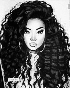 Pin av promyse streater på drawings i 2019 black women art, Black Girl Art, Black Women Art, Black Girls, Big Black, African American Art, African Art, Natural Hair Art, Black Artwork, Portraits
