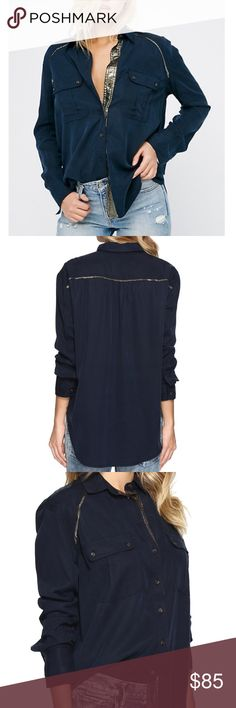 Free People Top New (with tags!) Free People Button Up Top featuring a perfectly relaxed fit and an unexpected shimmering trim in an XS. Navy. Retail $108. Free People Tops Button Down Shirts