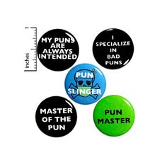 Funny Puns 5 Pack Buttons Backpack Pins Pun Slinger Master My | Etsy