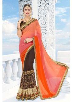 orange georgette à georgette sari